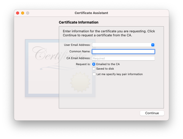 certificate assistant for CSR